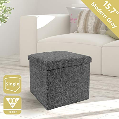 Seville Classics 15.7' Foldable Storage Footrest Toy Box Coffee Table Ottoman, Single, Charcoal Gray