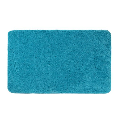 axentia Badematte Türkis-Badteppich-Badvorleger modern & groß aus Microfaser-Badezimmerteppich rutschfest-Badgarnitur für Dusche, Waschbecken & Badewanne, Stoff, 100 x 60 x 1.5 cm