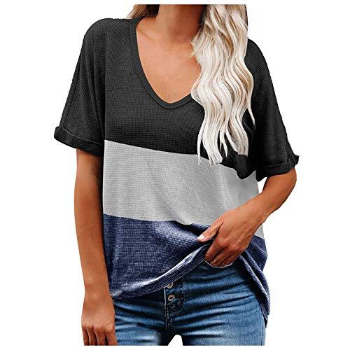 YANFANG Tops Casuales para Mujer Camiseta con Bloque de Color con Cuello en V Camiseta enrollada de Manga Corta con túnica de Punto,Camisas Blusas Moda Casual Primavera Otoño Sueltas Shirts Fiesta