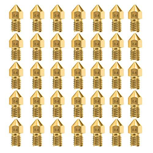 35 piezas Boquillas MK8 de 0.4 mm Accesorios para Extrusoras de Impresoras 3D para Creality Ender 3 5 CR-10 10S S4 S5 y así sucesivamente(35 piezas)