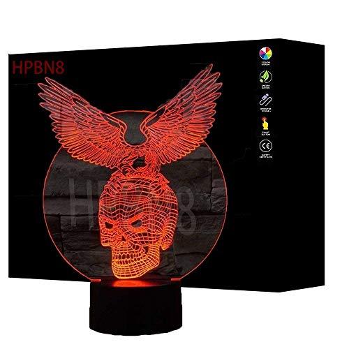 HPBN8 3D Adler Schädel Lampe USB Power 7 Farben Amazing Optical Illusion 3D wachsen LED Lampe Formen Kinder Schlafzimmer Nacht Licht【7 bis 15 Tage in Deutschland angekommen】
