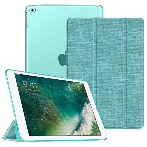 Fintie Hülle für iPad 9.7 Zoll 2018 2017 / iPad Air 2 (2014) / iPad Air (2013) - Ultradünn Schutzhülle mit durchsichtiger Rückseite Abdeckung Cover mit Auto Schlaf/Wach Funktion, Jeansoptik Türkis
