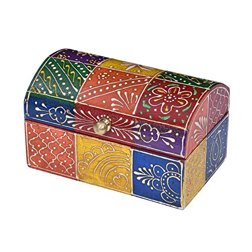 Casa Moro | Caja de joyería oriental Minu 7,5x13x7,5 cm (WxDxH) Cofre de joyería pintado a mano Caja de joyería de madera pequeña Idea de regalo original para la amiga Mujer Día de la Madre | MA19-24