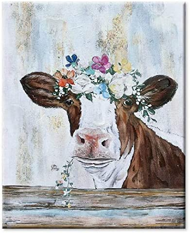 Hand-made Cute Cow Popular with Botanical Flowers Living Free shipping anywhere in the nation Wall for Ro Art