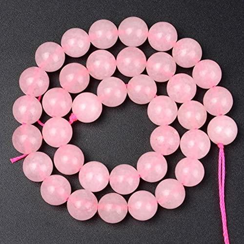 Águaces de Piedra Natural Lava Turquesa Amazonita Cuarzo Perlas de Angelita para joyería Fabricación de Bricolaje 4 6 8 10 12mm 15' (Color : Pink Quartz, Size : 10mm 37pcs Beads)