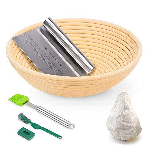 Gärkörbchen für Brot, 22,9 cm, rund, 650 g Teig, handgefertigt, Rattan, Teig, Sauerteig, Brot, Herstellung von Brot, für professionelle Bäcker