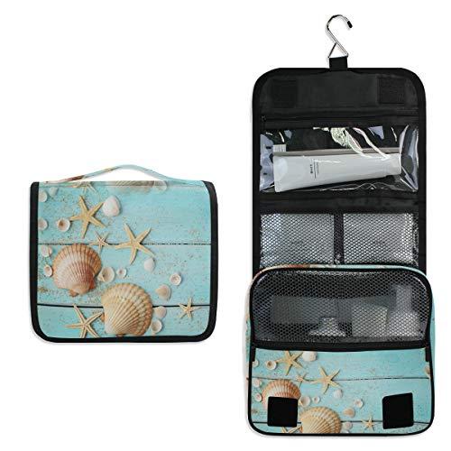 HousingMart Hanging Toiletry Bag Wooden Starfish Seashell Print Makeup Cosmetic Bag Zipper Toiletry Kit Large Travel Toiletry Bag Organizer with Hook