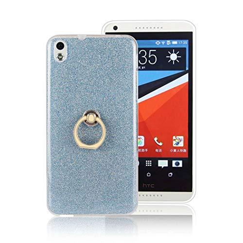 Ycloud Soft Silikon TPU Hülle für HTC Desire 816 Smartphone, Funkeln Glitzer Handyhülle mit Ring-Schnalle Ständer Entwurf Ultra Slim Back Cover (Blau)