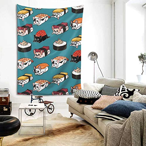 Chion Sushi Frenchie Tapestry Wall Hanging Living Room Dorm Decoration Tapestries(80'' X 60'')