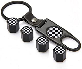 Flypc Tire Valve Stem Caps + Keychain Set Black & White Checkered Design with 4pcs Accessories Decal Parts Universal for Most Cars, Such as BMW Mini