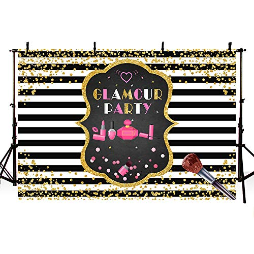 MEHOFOTO Glamour Birthday Party Photo Backdrop Props Girls Makeup Beauty Queen Makeover Black and White Stripes Gold Glitter Photography Background Banner 7x5ft