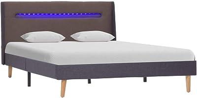 vidaXL Cadre de Lit avec LED Lit Rembourré Sommier à Lattes Lit Double Lit Adulte Chambre à Coucher Maison Intérieur Taupe Tissu 120x200 cm
