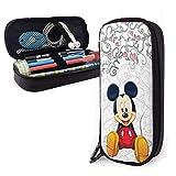 Estuche de cuero para lápices Mickey Mouse Set Estuche para bolígrafos Estuche para lápices Papelería Maquillaje cosmético Bolsa con doble cremallera