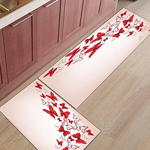 HLXX Alfombra de Mariposa de Grano de Madera Vintage Alfombra de Cocina Alfombra de hogar Alfombra de baño Alfombra de Cocina Alfombra de Cocina alfombras de balcón A2 50x80cm