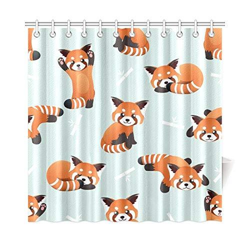 QIAOLII Wohnkultur Bad Vorhang Niedlichen Roten Panda Bambus Polyester Stoff Wasserdicht Duschvorhang Für Bad, 72X72 Zoll Duschvorhang Haken Enthalten