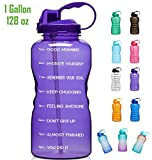 Giotto Large 1 Gallon/128oz (When Full) Motivational Water Bottle with Time Marker & Straw, Leakproof Tritan BPA Free, Ensure You Drink Enough Water Daily for Fitness, Gym and Outdoor Sports-Purple