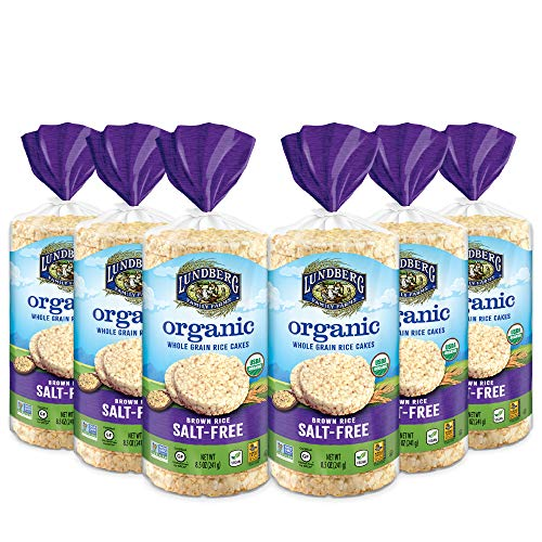 Lundberg Organic Brown Rice Cakes, Salt-Free, 8.5oz (6 Count), Gluten-Free, Vegan, USDA Certified Organic, Non-Gmo Verified, Kosher, Whole Grain Brown Rice