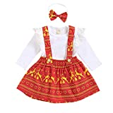 Ucoolcc Neugeborenes Baby Mädchen Outfits Set Kleidung Set Stricken Fliegender Ärmel Romper Overalls Weihnachten Cartoon Reindeer Rock Süßer Kopfschmuck dreiteiligen Anzug(rot,90)