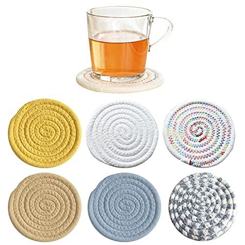 Androxeda sottobicchieri per bevanit, mat di vetro tessuti a mano (4.3 pollici, rotondo, a 8 mm di spessore), super-assorbenti sottobicchieri resistenti al calore per le bevanit, bar, vetro, regali sq