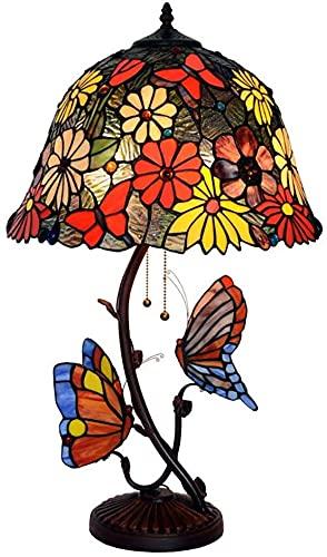 Lámpara de mesa Tiffany de 40,6 cm (16 pulgadas), diseño de mariposa de país