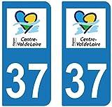 supstick 2 STICKERS AUTOCOLLANT PLAQUE IMMATRICULATION DEPT 37 region Centre-Val de Loire