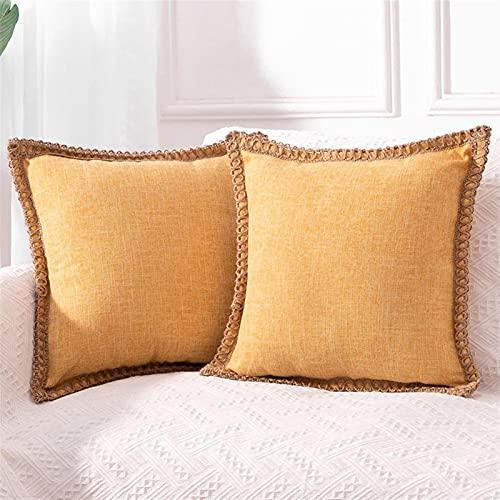 wjmss Color DE Lino DE Color Pure Lanza Cubiertas DE ALIMENTACIÓN 18 × 18 Pulgadas Cuerda de cáñamo de Loto Decorativo de Encaje de Loto para sofá Cama Cojín de Almohada de Cabeza,004