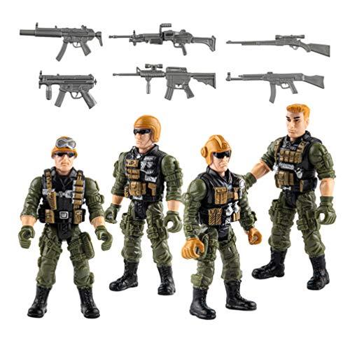 TOYANDONA 1 Set di Action Figures dell'Esercito Set di Soldati Militari Figure di Plastica Uomini di Esercito Giocattoli con Armi per Ragazzi Ragazze Bambini Bambini