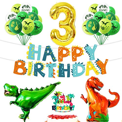 Happy 3rd Birthday Balloons Set Dinosaur Themed Decoration – Dino Happy Birthday Banner and Cake Topper Party Supplies