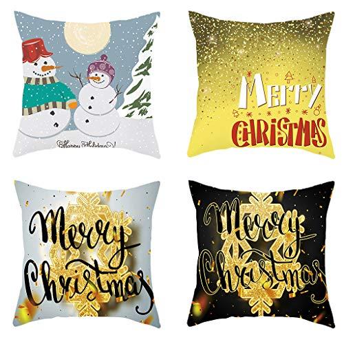 Xmas Short Plush Pillowcase 4pcs Set Living Room Sofa Pad Seat Cushion Luxury Gold Snowflake Printing Home Decor 18x18 Inch Evangelia.YM (D)