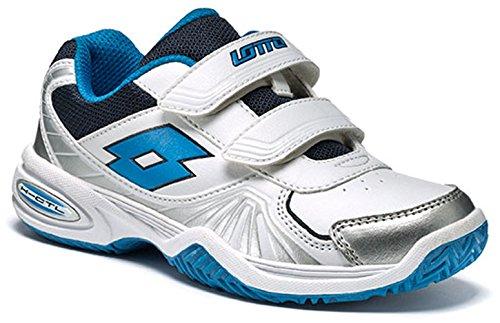 Lotto Stratosphere III CL S, Zapatillas de Tenis Unisex niños, Blanco/Azul (Wht/Atlant), 27 EU