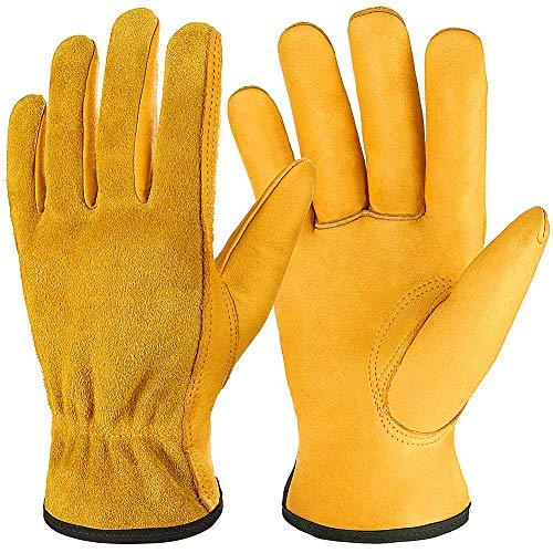 Auelife Gardening Gloves Guantes de cuero de vaca, Guantes de trabajo de cuero transpirables y flexibles para hombres y mujeres, Guantes de trabajo pesado para jardinería, Construcción, Amarillo (XL)