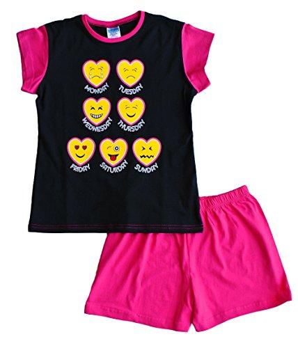 Schlafanzug für Teenager-Mädchen, kurz, Emoji-Stil, 11 bis 16 Jahre, Schwarz Gr. 9-10 Jahre, rose
