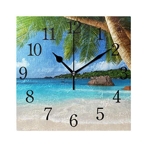 WowPrint Palme Baum Ozean Meer Strand Motiv Design Wanduhr Arabisch Ziffer, Leise, Ohne Ticken, Quadratische Wanduhren, Wohnaccessoires, Wohnzimmer, Badezimmer, Schlafzimmer, Küche, Büro Deko