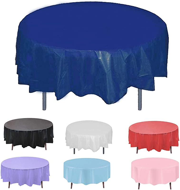 Disposable Round Plastic Tablecloth Pack Of 12 Navy Blue Picnic Table Cloth Cover Protector For Wedding Birthday Party Easter Holiday Banquet Event Supplies Accessories Waterproof 84 Inch 80 72 60 7FT