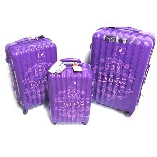 Juego de 3 maleta trolley abs 'Lollipops'púrpura (51/61/71 cm).