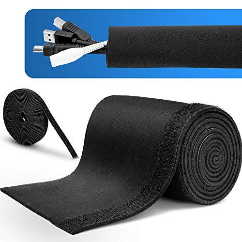 MAKONA® Premium Kabelschlauch schwarz aus Neopren (2m) - mit praktischem Klettkabelbinder (3m) - für hochwertiges Kabelmanagement oder idealer Kabelschutz - Durchmesser einstellbar (Black)
