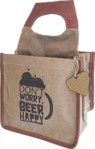 Beer Bottle Bag Canvas Fold Away Cold And Dry 6 Bottle Or Can Drink Caddy, Gift For Men And Dads. 'Don't Worry Beer Happy' Novelty Beer Carrier Bag by Lapelt