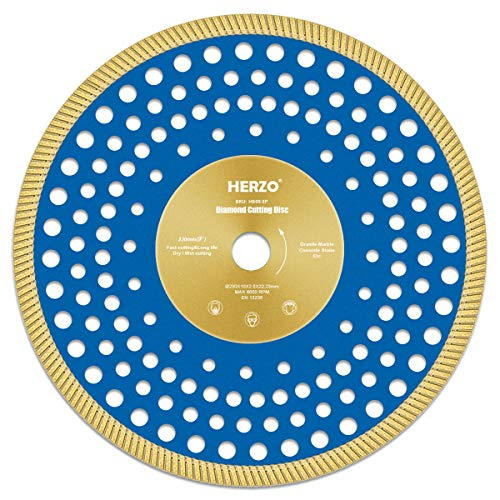 Disco de corte de diamante 230 mm HERZO. Disco Diamante para corte de Porcelanico,Cerámica dura,Azulejos,Mármol,Granito,Piedra caliza