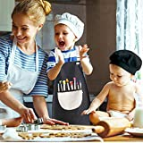 INSANYJ 2 Stück Schürze Kinder mit Tasche, Wasserdicht Kinderschürze für Jungen Mädchen, Verstellbare Kochschürze/Küchenschürze für Basteln Bemalen Backen Kochen (Schürzen schwarz, grau7-13 Jahre) - 4