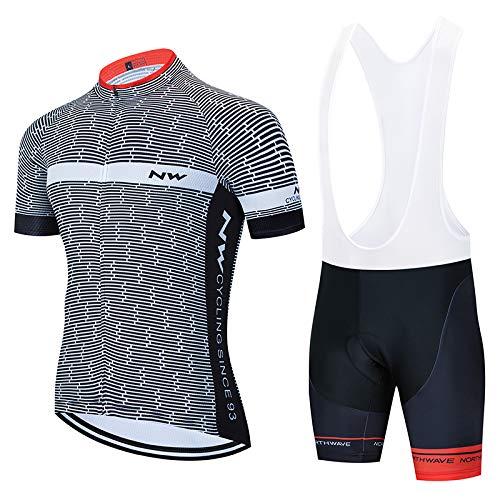 ADKE Conjunto Ropa Ciclismo Hombre, Traje MTB Maillot Bicicleta Mangas Cortas+3D Gel Culotte Pantalones Cortos Verano Equipacion Ciclismo (XL, NW-BK1)