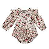 Infant Baby Girl Twins Long Sleeve Ruffles Romper, Floral, Size 6-12 Months