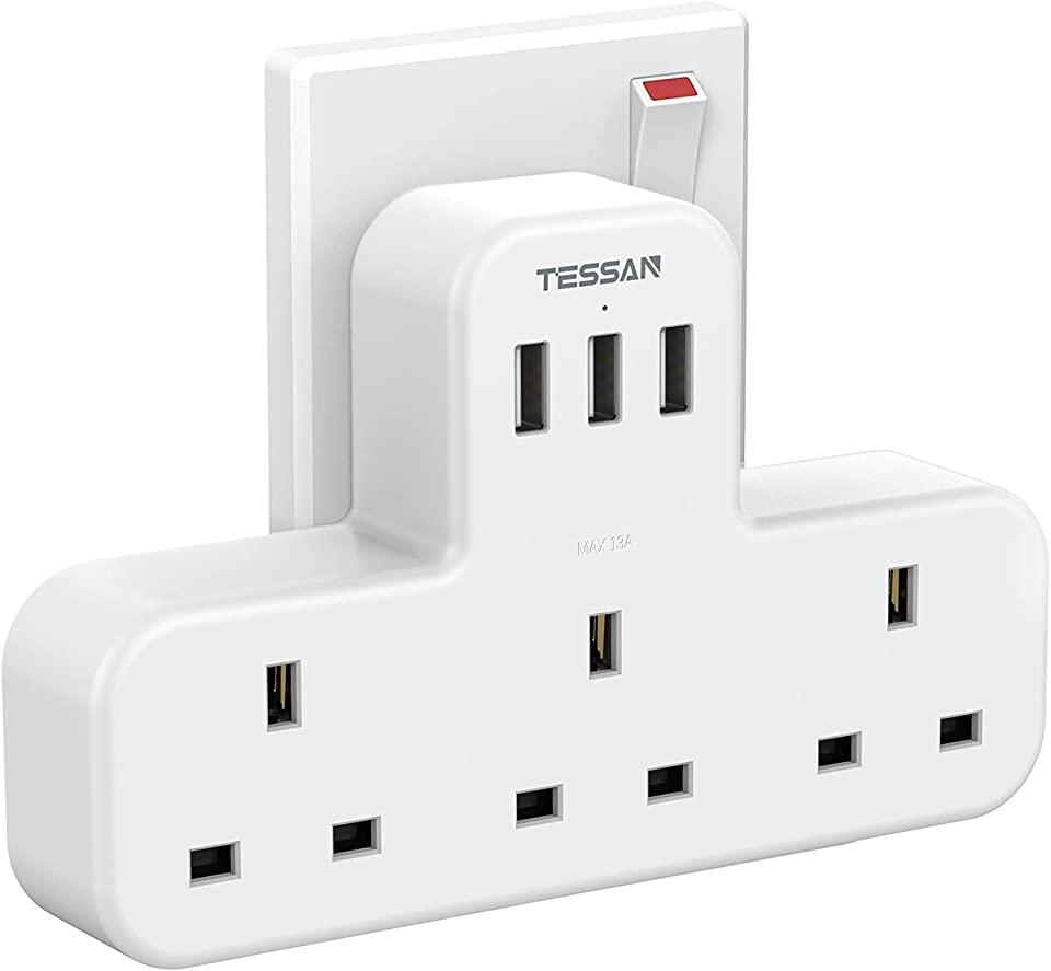 3 Way Plug Adapter UK, TESSAN Multi Plug Extension with 3 USB, 13A Wall Socket Power Extender Adaptor for Home, Office, Kitchen