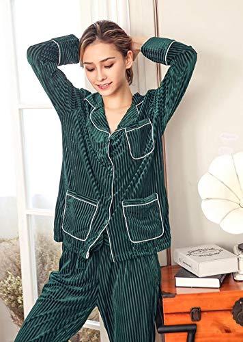 Conjunto De Pijama De Mujer,Terciopelo Cálido Verde Casual Manga Larga Raya De Solapa Botón Ropa...