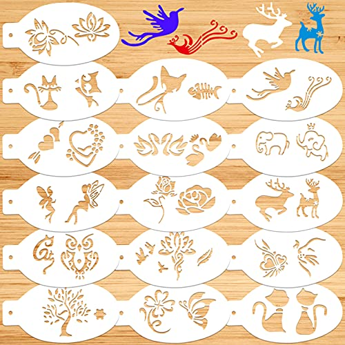 Qpout 16 piezas Mezclado Plantillas para hornear galletas de café, Plantillas reutilizables de la pintura del caramelo del pan de la torta, plantilla plástica del dibujo de la flor del animal