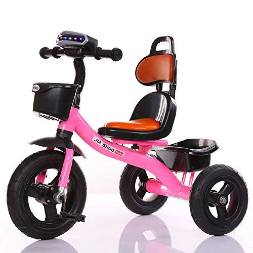 Dreirädrige Kinderfahrräder, Kinderfahrräder mit Musiklicht, geeignet für Jungen und Mädchen im Alter von 1 bis 5 Jahren, Rahmen aus hohem Kohlenstoffstahl | Gummi-Volltitan-Leerrad