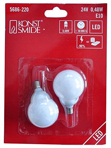 Konstsmide 5686-220 reservelamp/voor LED biertuin ketting/24 V, 0,24 W/2 per blister/witte lampen/E14 schroefdraad