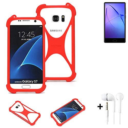 K-S-Trade® Handyhülle + Kopfhörer Für Leagoo KIICA Mix Schutzhülle Bumper Silikon Schutz Hülle Cover Case Silikoncase Silikonbumper TPU Softcase Smartphone, Rot (1x),