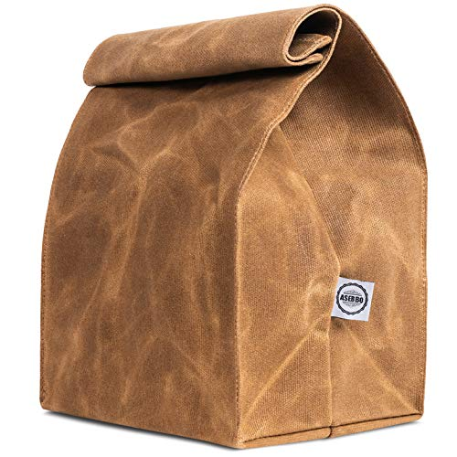 Waxed Canvas Lunch Bags Brown Paper Bag, Reusable Lunch Box, Lifetime Buy, Large Plastic-Free Washable Lunch Sack for Men, Women & Kids by ASEBBO