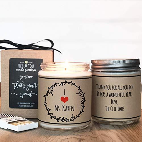 I Heart My Teacher Candle Gift, Teacher Appreciation Candle Gift, Personalized Candle Gift, Thank You Gift, Thank You Candle, Thank You Teacher Gift, Soy Candle Gift