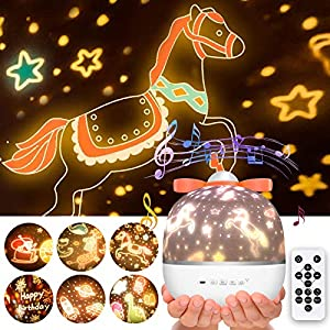 Soffiya Night Light for Kids, Nightlight Projector Lamp 360° Rotating, Bluetooth Music with Timer Remote, Color Changing for Baby Adults Room Decor(6 Sets Films)